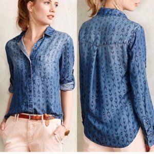 Cloth & Stone Ikat Print Chambray Shirt